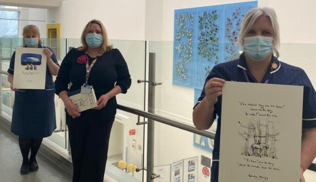 NHS staff wellbeing boost from donation of Charlie Mackesy Prints
